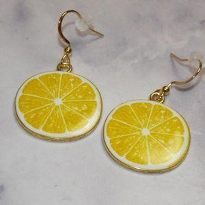 Lemon Slice Earrings Golden Stainless Steel Wires